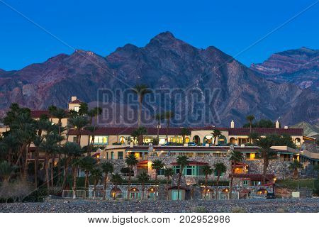 DEATH VALLEY NATIONAL PARK USA - MARCH 14 2015: Furnace Creek Resort luxury travel destination hotel in Death Valley National Park of California US on March 14 2015