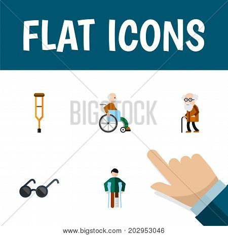 Flat Icon Disabled Set Of Ancestor, Spectacles, Stand Vector Objects