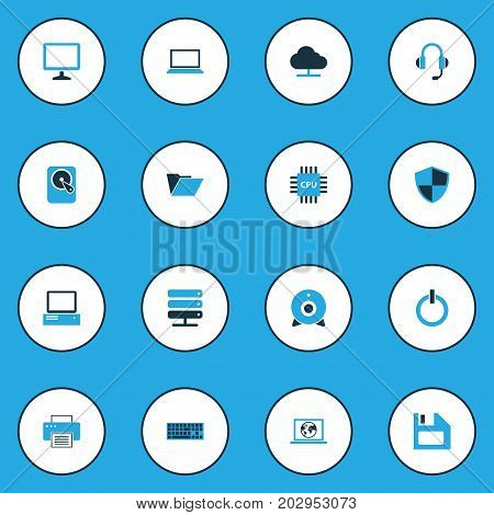 Hardware Colorful Icons Set. Collection Of Notebook, Network, Print And Other Elements
