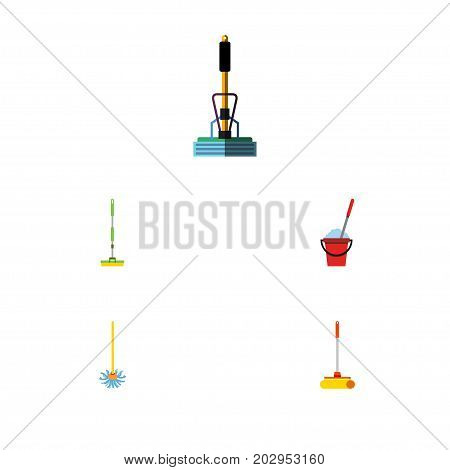 Flat Icon Mop Set Of Broomstick, Cleaner, Equipment And Other Vector Objects