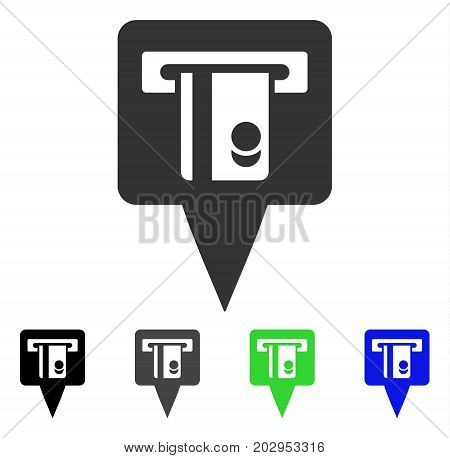 ATM Terminal Marker icon. Vector illustration style is a flat iconic atm terminal marker symbol with black, grey, green, blue color versions. Designed for web and software interfaces.