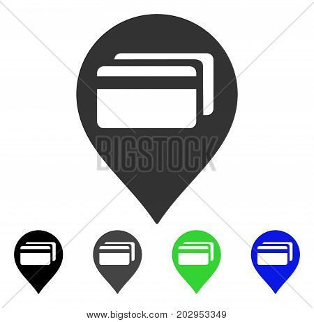 ATM Terminal Pointer icon. Vector illustration style is a flat iconic atm terminal pointer symbol with black, gray, green, blue color versions. Designed for web and software interfaces.