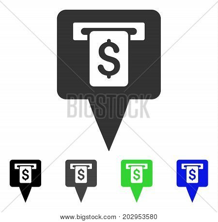 Cash Machine Map Pointer icon. Vector illustration style is a flat iconic cash machine map pointer symbol with black, grey, green, blue color variants. Designed for web and software interfaces.