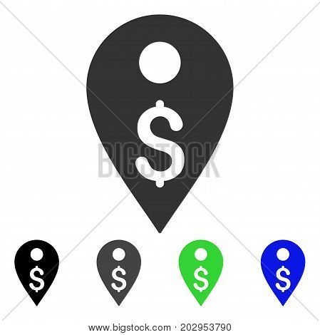 Dollar Map Marker icon. Vector illustration style is a flat iconic dollar map marker symbol with black, grey, green, blue color variants. Designed for web and software interfaces.