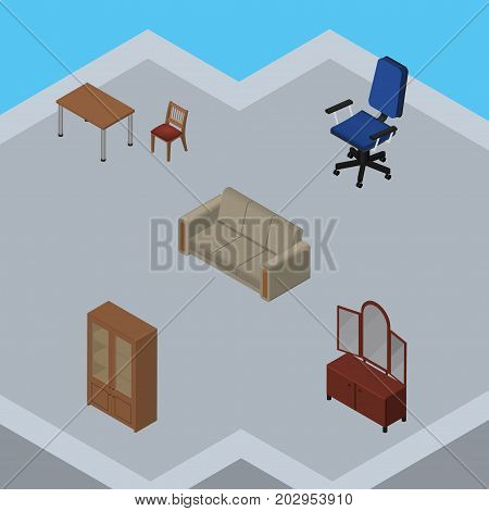 Isometric Design Set Of Cabinet, Couch, Drawer And Other Vector Objects