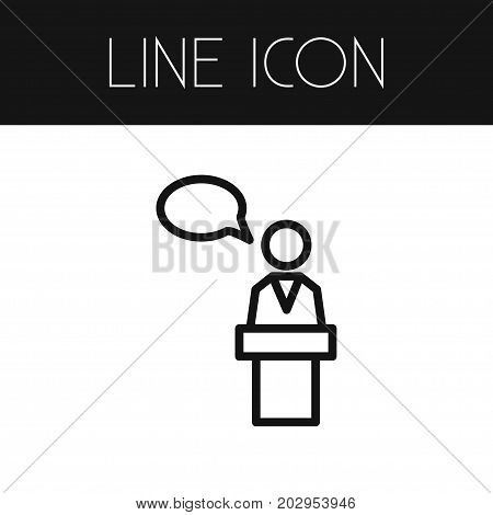Speaker Man  Vector Element Can Be Used For Speaker, Man, Lecturer Design Concept.  Isolated Lecturer Outline.