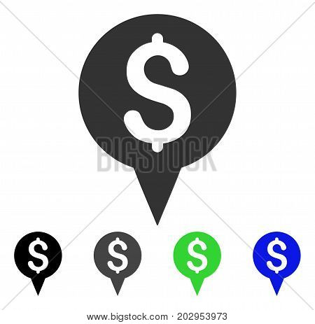 Money Map Marker icon. Vector illustration style is a flat iconic money map marker symbol with black, grey, green, blue color variants. Designed for web and software interfaces.