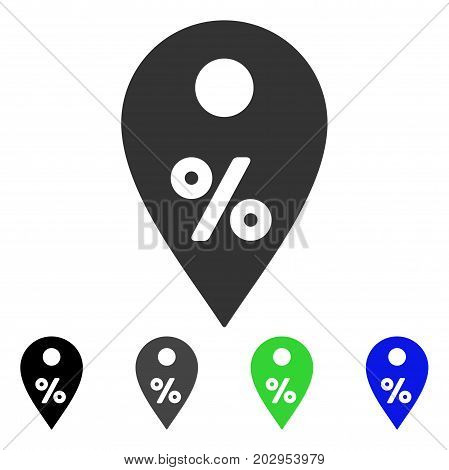 Percent Map Marker icon. Vector illustration style is a flat iconic percent map marker symbol with black, grey, green, blue color variants. Designed for web and software interfaces.