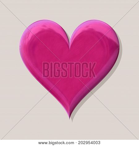 3d heart shiny fuchsia pink symbol with shadow on grey