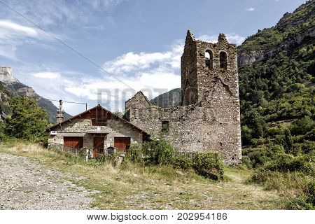 Old Trinidad Church of Canfranc Huesca Spain Abandoned