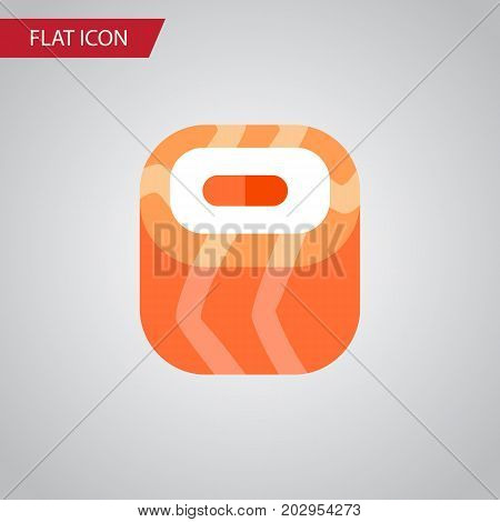 Oriental Vector Element Can Be Used For Salmon, Rolls, Sushi Design Concept.  Isolated Salmon Rolls Flat Icon.