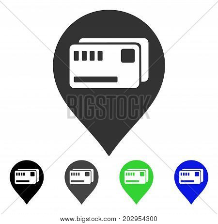 Tickets Map Marker icon. Vector illustration style is a flat iconic tickets map marker symbol with black, gray, green, blue color versions. Designed for web and software interfaces.