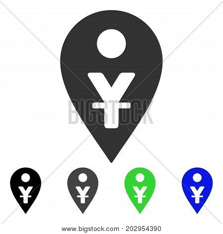 Yuan Map Marker icon. Vector illustration style is a flat iconic yuan map marker symbol with black, grey, green, blue color variants. Designed for web and software interfaces.