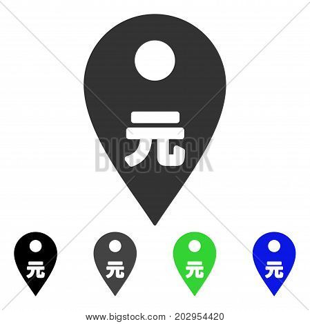 Yuan Map Marker icon. Vector illustration style is a flat iconic yuan map marker symbol with black, grey, green, blue color versions. Designed for web and software interfaces.