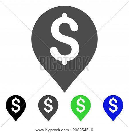 Bank Map Marker icon. Vector illustration style is a flat iconic bank map marker symbol with black, gray, green, blue color versions. Designed for web and software interfaces.