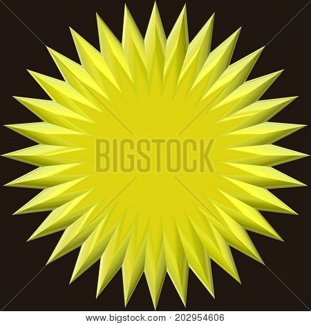 Yellow 3d flat wheel circular round sphere background shape
