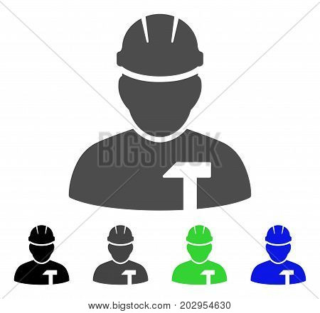 Builder Person icon. Vector illustration style is a flat iconic builder person symbol with black, grey, green, blue color variants. Designed for web and software interfaces.