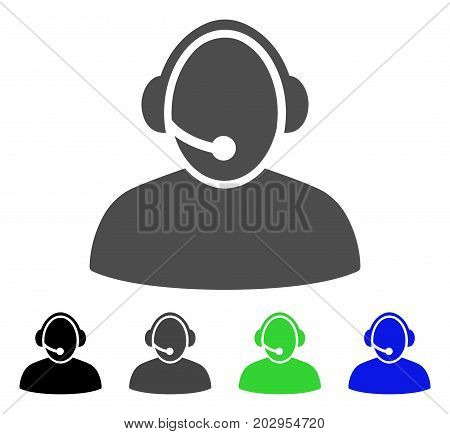 Call Center icon. Vector illustration style is a flat iconic call center symbol with black, gray, green, blue color versions. Designed for web and software interfaces.