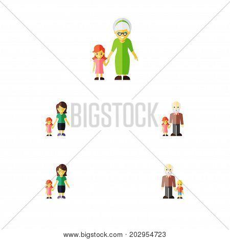 Flat Icon Family Set Of Grandchild, Grandson, Grandpa Vector Objects