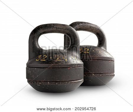 Two iron collapsible dumbbells weighing 32 kg isolated on white background.
