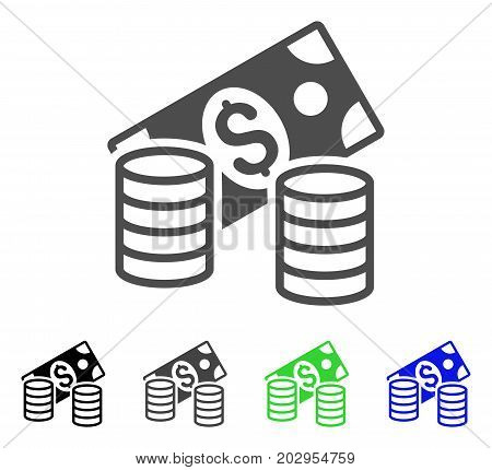 Cash icon. Vector illustration style is a flat iconic cash symbol with black, gray, green, blue color variants. Designed for web and software interfaces.