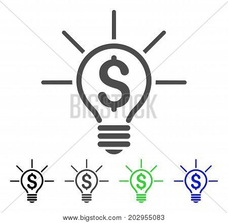 Financial Idea Bulb icon. Vector illustration style is a flat iconic financial idea bulb symbol with black, grey, green, blue color versions. Designed for web and software interfaces.
