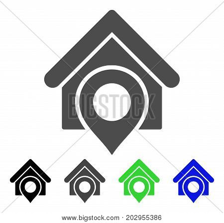 Realty Location icon. Vector illustration style is a flat iconic realty location symbol with black, grey, green, blue color versions. Designed for web and software interfaces.