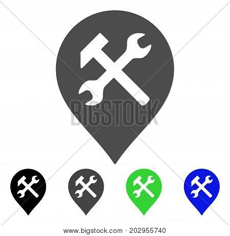 Workshop Map Marker icon. Vector illustration style is a flat iconic workshop map marker symbol with black, gray, green, blue color versions. Designed for web and software interfaces.