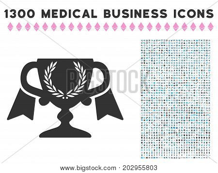 Achievement Award Cup gray vector icon with 1300 doctor business pictograms. Set style is flat bicolor light blue and gray pictograms.