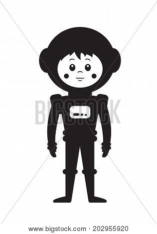 Children s poster in Scandinavian style with the image of the astronaut. Vector illustration in flat style