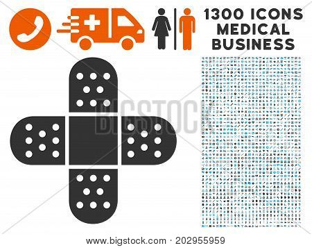 Adhesive Patch gray vector icon with 1300 health care commerce pictograms. Clipart style is flat bicolor light blue and gray pictograms.