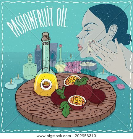 Glass Decanter of Passionfruit oil and fruits of Passiflora edulis plant. Girl applying facial mask on face. Natural vegetable oil used for skin care