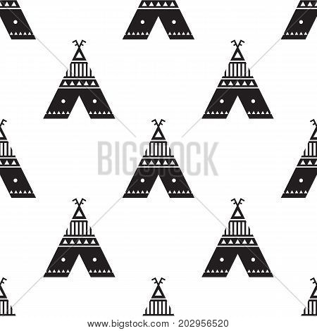 Seamless pattern in Scandinavian style with the image of the huts. Vector illustration