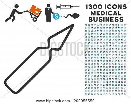 Ampoule gray vector icon with 1300 healthcare commerce icons. Clipart style is flat bicolor light blue and gray pictograms.