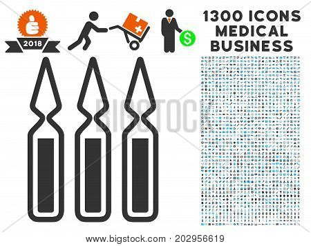 Ampoules gray vector icon with 1300 clinic business pictograms. Set style is flat bicolor light blue and gray pictograms.