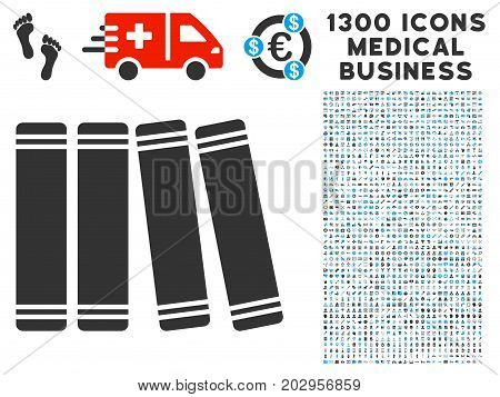 Anamnesis Books grey vector icon with 1300 healthcare commercial pictograms. Collection style is flat bicolor light blue and gray pictograms.