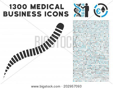 Annelid Worm gray vector icon with 1300 clinic business pictographs. Collection style is flat bicolor light blue and gray pictograms.