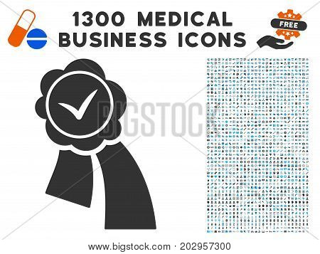 Approved Seal grey vector icon with 1300 health care commerce icons. Clipart style is flat bicolor light blue and gray pictograms.