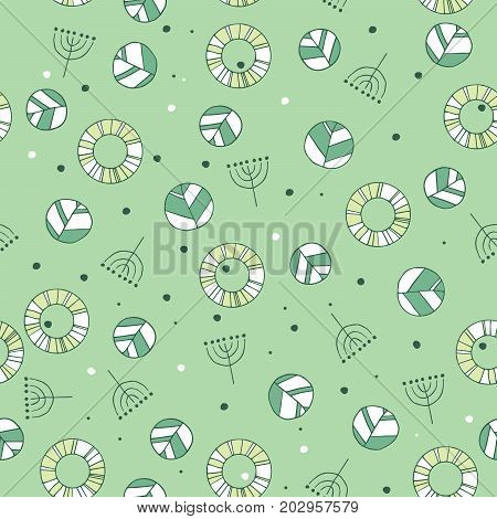 Seamless nature pattern with cute leaves in green color. Modern foliage background with twigs in chaotic manner. Flat hand draw style