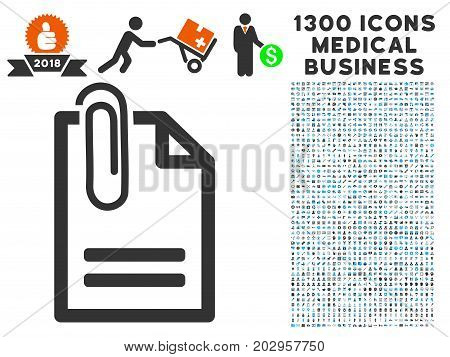Attached Document grey vector icon with 1300 doctor commerce pictograms. Clipart style is flat bicolor light blue and gray pictograms.