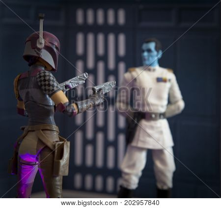 Studio image of Star Wars character Imperial Grand Admiral Thrawn and Rebel Sabine Wren Hasbro Black Series action figure