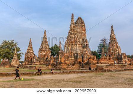Ayutthaya, Thailand - March 2, 2017: Wat Chaiwatthanaram Temple in Ayutthaya Historical Park, Thailand