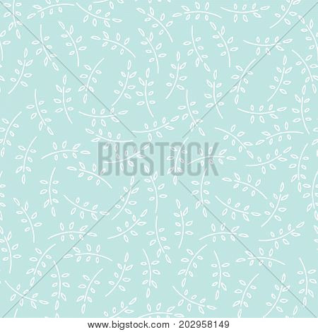 Seamless nature pattern with cute twigs in blue color. Foliage background with leaves in chaotic manner. Cartoon hand draw style