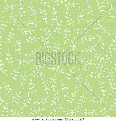 Seamless nature pattern with cute twigs in green color. Foliage background with leaves in chaotic manner. Cartoon hand draw style