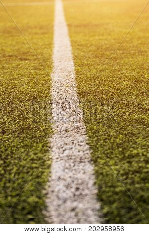 green grass pattern for football sport, Football field, soccer field, team sport texture. White stripe on it. Close up focus. Flare sunlight flare for text and design.