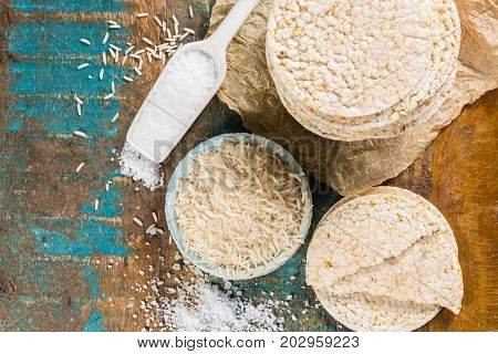 Healthy puffed rice cakes crackers stacked with sea salt close up