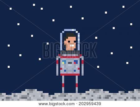 Astronaut pixel game style illustration. Cosmonaut simple vector pixel art design. 8 bit people character isolated on dark blue background