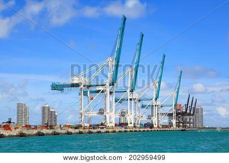Miami, Fl, USA - APRIL 12, 2017: Container terminal with port cranes in Miami, Florida.