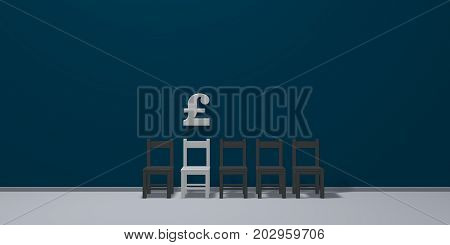 english pound symbol and row of chairs - 3d rendering