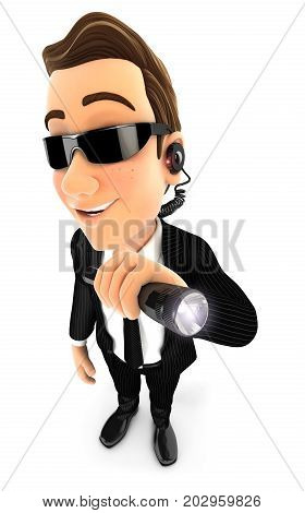 3d security agent holding flashlight illustration with isolated white background